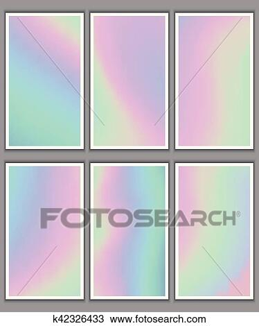 Clipart of set of holographic backgrounds for business cards
