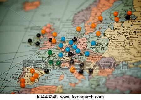 Pictures of Travel Map with Push Pins-Paris k3448248 - Search Stock