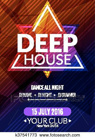Clipart of Club electronic deep house music poster Musical event DJ