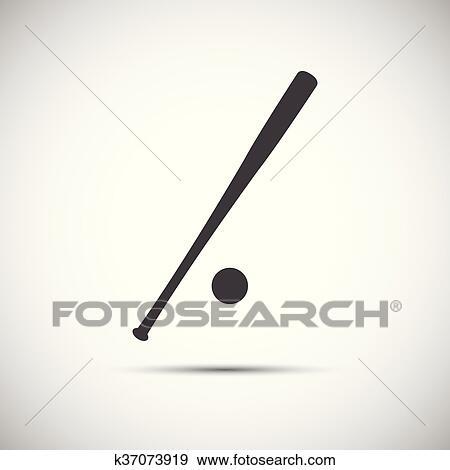 Simple icon baseball bat, vector illustration Clip Art k37073919