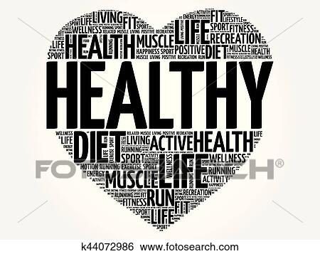Clip Art of HEALTHY heart word cloud, fitness k44072986 - Search
