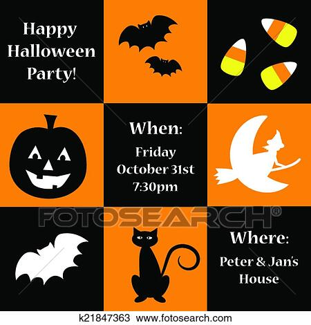 Clipart of Happy Halloween Invite k21847363 - Search Clip Art