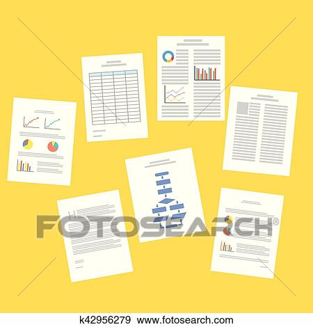 Clip Art of Business documents Paperwork Business reports