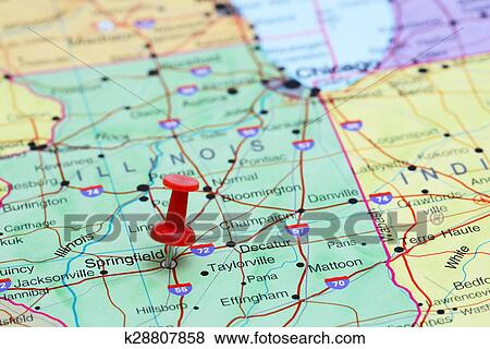 Pictures of Springfield pinned on a map of USA k28807858 - Search