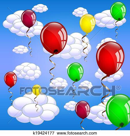 Clip Art of Balloons floating in the sky k19424177 - Search Clipart