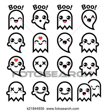 Cute Kid Love Wallpaper Clipart Of Kawaii Cute Ghost For Halloween K21844935