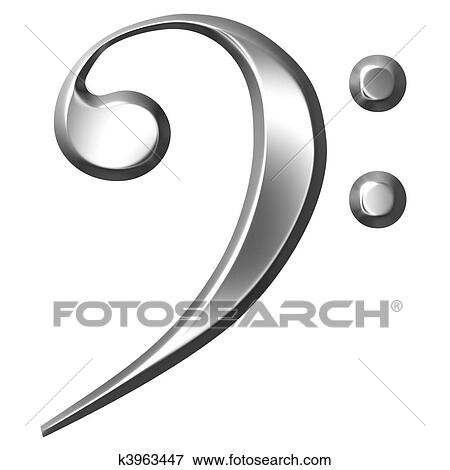 Stock Illustration of 3D Silver Bass Clef k3963447 - Search EPS - base cleff