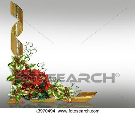 Drawings of Christmas card border holly floral k3970494 - Search