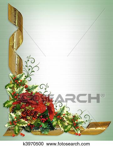Stock Illustrations of Christmas card border holly floral k3970500