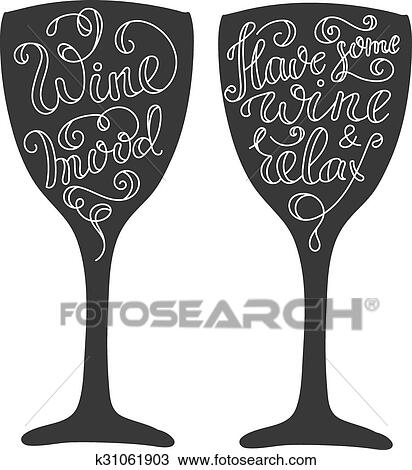 Clipart of Wine Quotes on wine glass silhoette k31061903 - Search