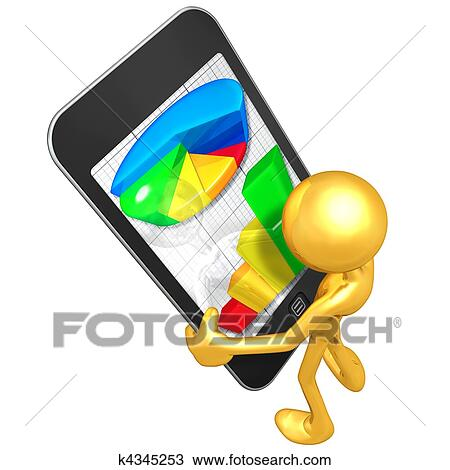 Drawing of Touch Screen Business Reports k4345253 - Search Clipart