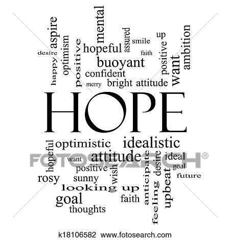 Clip Art of Hope Word Cloud Concept in black and white k18106582 - word clip art