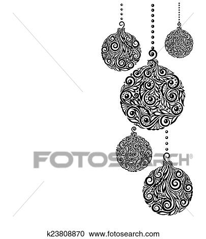 Clipart of beautiful monochrome Black and White Christmas background - christmas cards black and white