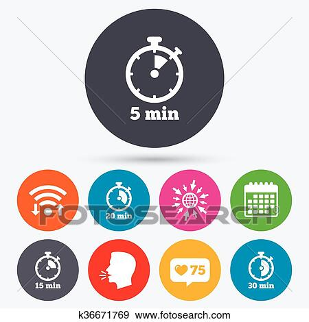 Clip Art of Timer icons Five minutes stopwatch symbol k36671769