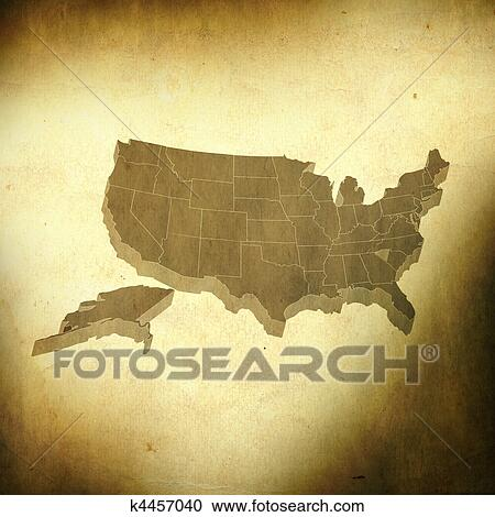 Stock Illustrations of USA map on grunge background k4457040