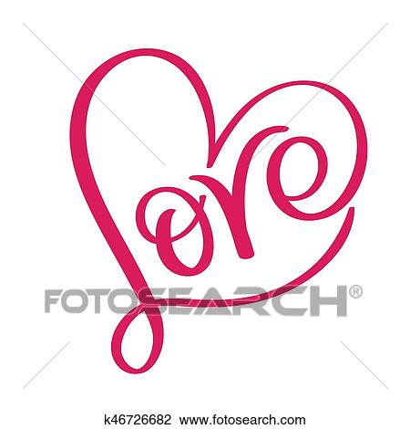 Clipart of Love word in red heart Vector calligraphy and lettering