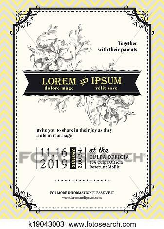 Clipart of Vintage Wedding invitation border and frame template
