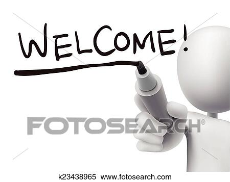 Clipart of welcome word written by 3d man k23438965 - Search Clip