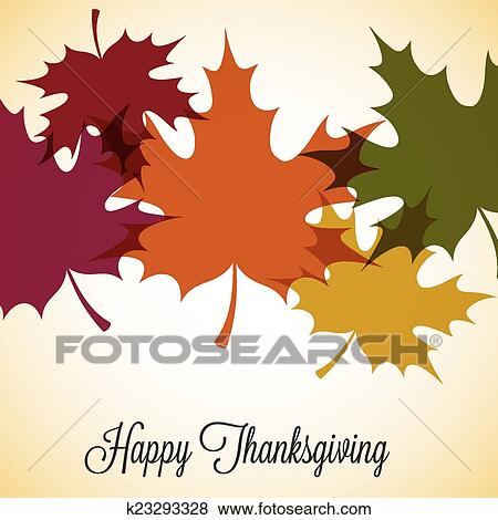 Clip Art of Maple leaf Thanksgiving card in vector format k23293328