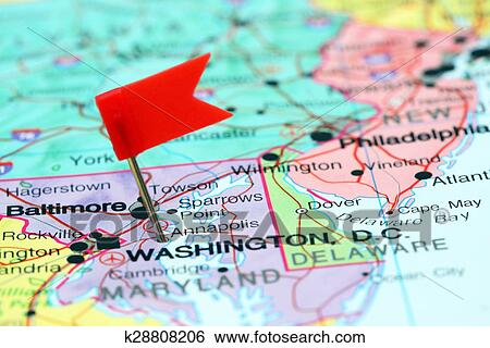 Stock Images of Annapolis pinned on a map of USA k28808206 - Search