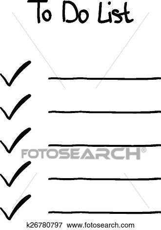 Clip Art of Hand-drawn doodle to do checklist k26780797 - Search