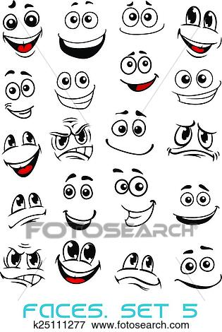 Clip Art of Cartoon faces with different expressions k25111277