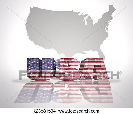 Drawings of Word USA on a map background k23581594 - Search Clip Art