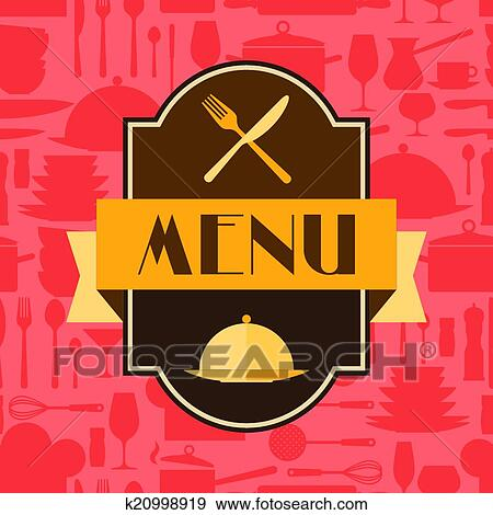 Clip Art of Restaurant menu background in flat design style