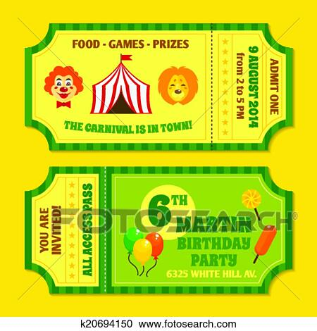 Clipart of Circus tickets template k20694150 - Search Clip Art