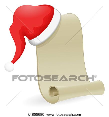 Stock Illustrations of Christmas list with Santa Hat k4855680