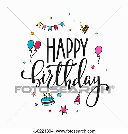 Clipart - feliz cumpleaños, letras, tipografía k50221394 - Buscar