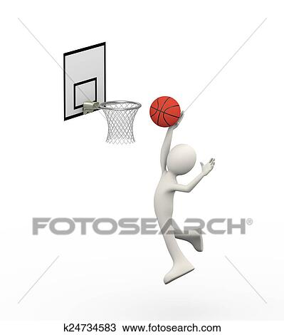 Drawing of 3d jumping man putting ball in basketball hoop k24734583