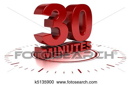 Stock Illustrations of 30 minutes written in 3d over a clock symbol