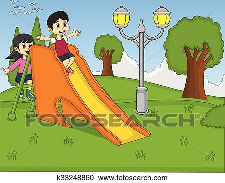 Clipart of Children playing slide at the park k33248860 - Search - cartoon children play