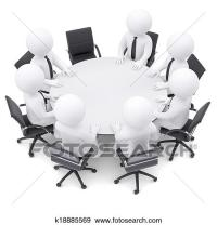 Stock Illustration of 3d people at the round table. One ...