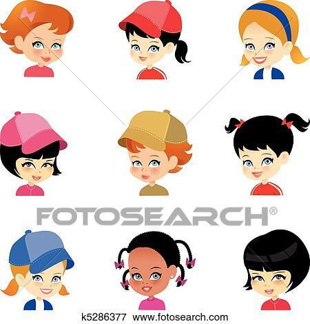Clip Art of Little Girl Cartoon Faces Set k5286377 - Search Clipart