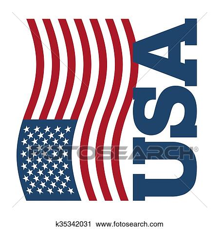 Clipart of Flag USA Developing America flag on white background