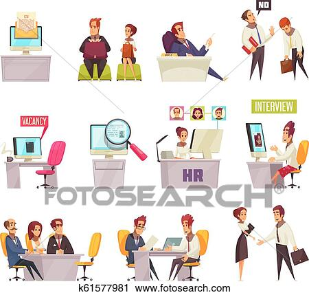 Clipart of Resume Recruiting Icon Set k61577981 - Search Clip Art