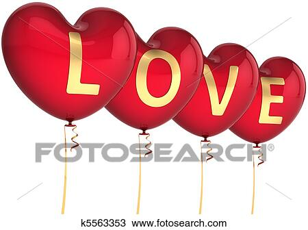 Stock Photo of Heart shaped balloons of Love k5563353 - Search Stock
