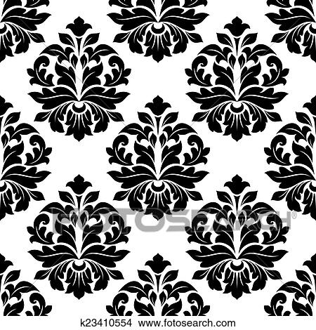 Clipart of Black and white floral damask pattern k23410554 - Search