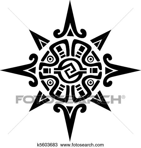 Clipart of Mayan or Incan symbol of a sun or star k5603683 - Search