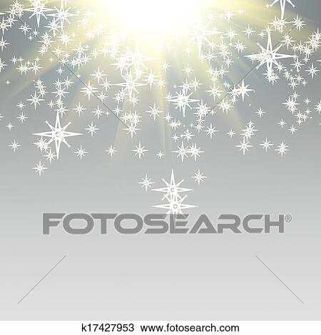 Drawing of Elegant Christmas background with falling down stars