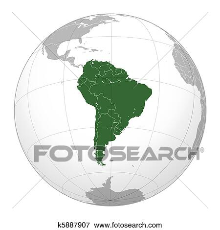 Stock Illustration of South American continent on globe k5887907