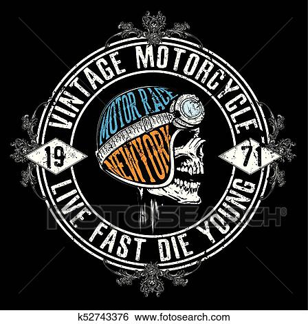 Clip Art of Motorcycle Racing Typography Graphics and Poster Skull