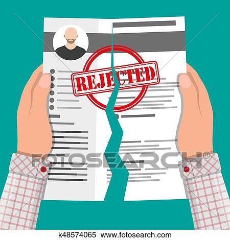 Clipart of Hands torn in half cv profile Rejected resume k48574065