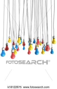 Stock Image of Color Hanging Light Bulbs k18122675 ...