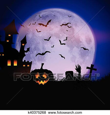 Clip Art of Spooky Halloween background k40375268 - Search Clipart