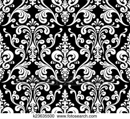 Stock Illustrations of Vector Seamless elegant damask pattern