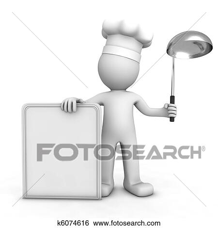 Stock Illustration of 3D chef with blank menu board k6074616