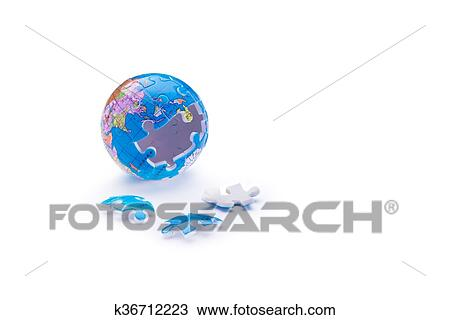 Stock Photo of Globe jigsaw puzzle k36712223 - Search Stock Images